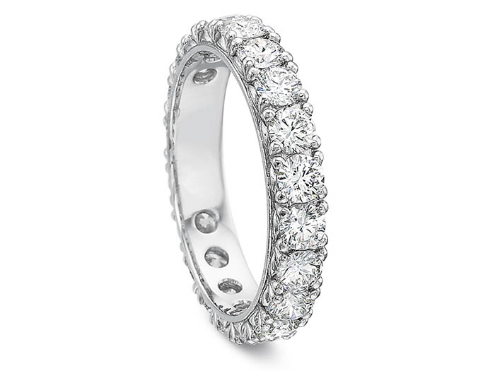 Precision Set 18K White Gold Petite Prong Eternity Band, Featuring 20 Round Diamonds =2.00ctw