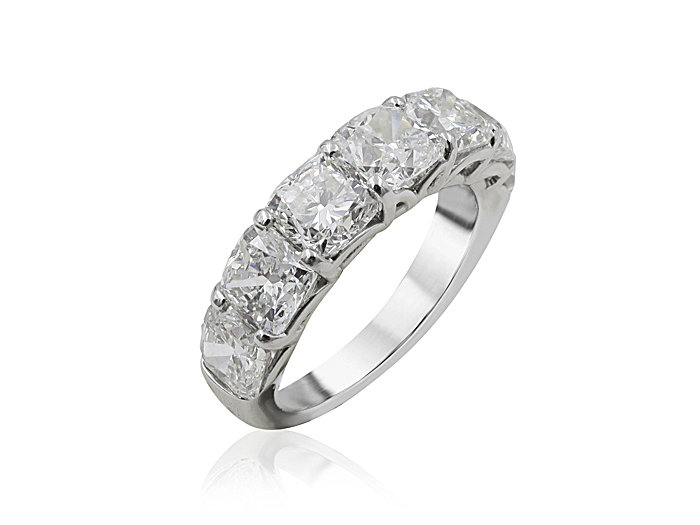 JB Star Platinum Band, Featuring 5 Cushion Shaped Diamonds =5.03ctw