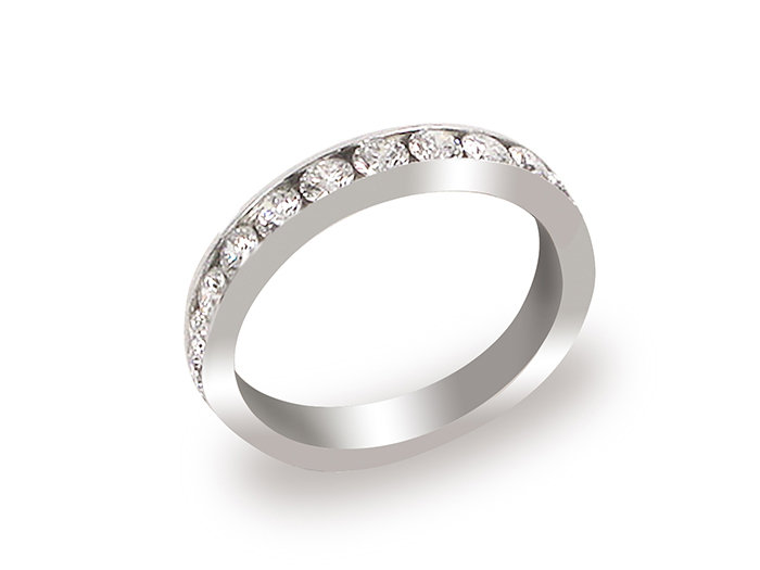 Alson Signature Collection Diamond Channel Set Band, Fashioned in 18K White Gold, Featuring Fourteen Round Diamonds =1.00ct Total Weight, G/H Color, SI Clarity