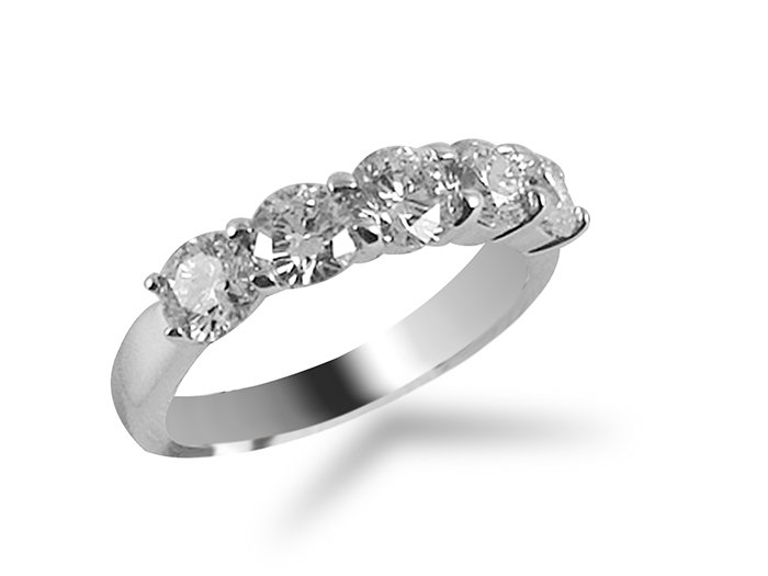 Alson Signature Collection 18K White Gold Diamond Band, Featuring Five Round Diamonds =1.50cts Total Weight, G/H Color, SI Clarity