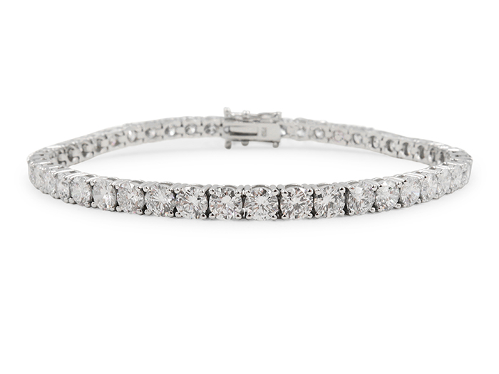 Alson Signature Collection 18K White Gold Four-Prong Straight Line Bracelet, Featuring 47 Round Diamonds =8.70cts Total Weight
