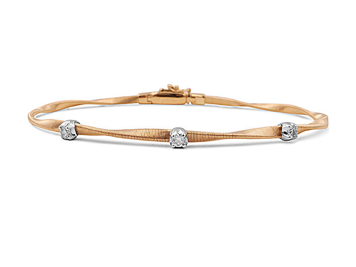 Marco Bicego 18K Rose & White Gold Marrakech Flexible Twist Bracelet, Featuring 3 Round Diamonds =.15cts Total Weight