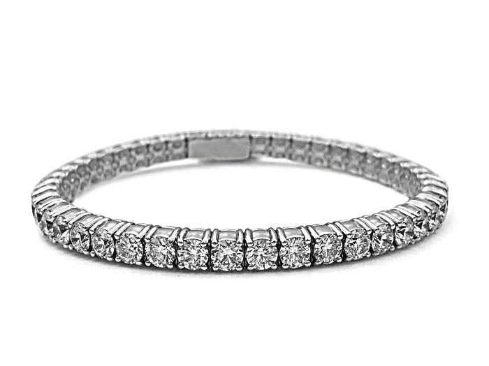 Alson Signature Collection Diamond Stretch Bracelet, Fashioned in 18K White Gold and Feautring 45 Round Diamonds =8.82cts Total Weight, F/G Color, VS Clarity