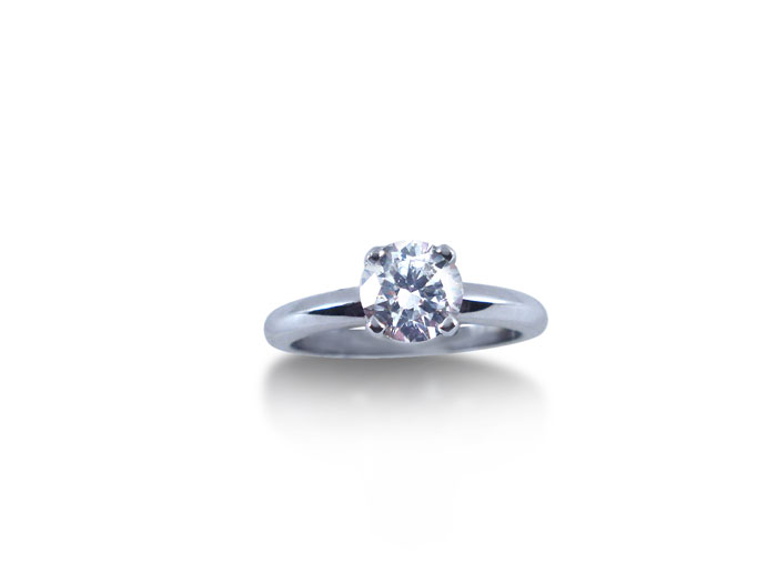 Alson Signature Collection Solitaire Engagement Ring, Fashioned in 14K White Gold, Featuring a 1.01 Carat Round Diamond, VS2 Clarity, H Color, GIA Certified