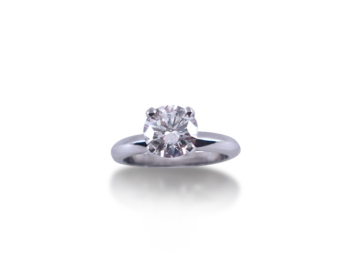 Alson Signature Collection Solitaire Engagement Ring, Fashioned in 14K White Gold, Featuring a 1.51 Carat Round Diamond, SI2 Clarity, I Color, GIA Certified