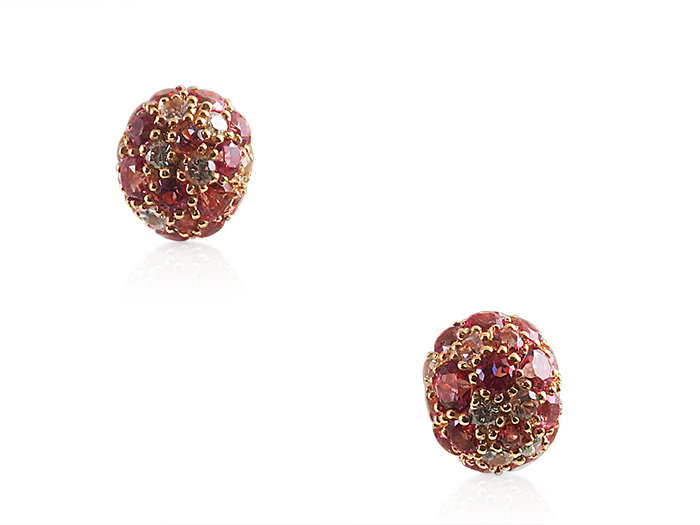 Brumani 18K Rose Gold Multi Stone Earrings, Featuring Diamonds =.12cts Total Weight, White Sapphires =.40cts Total Weight and Pink Topaz =2.57cts Total Weight