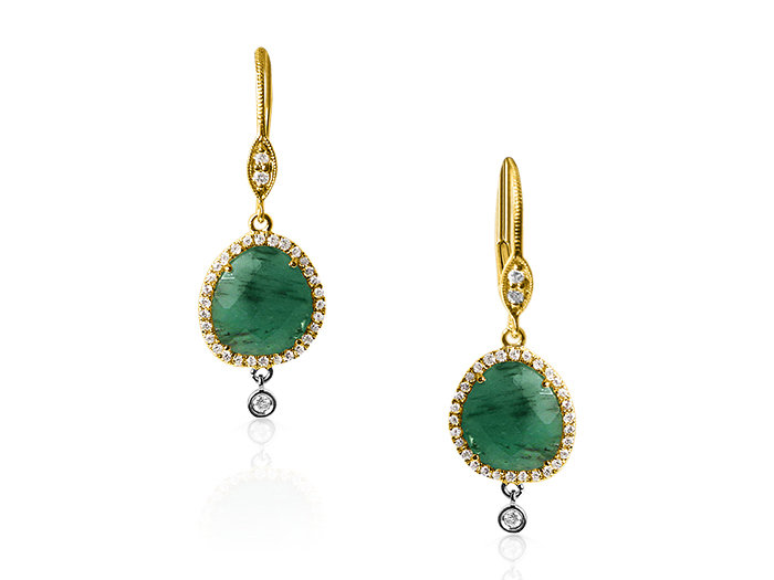 Alson Signature Collection Emerald and Diamond Earrings, Fashioned in 14K Yellow Gold, Featuring Two Emeralds =2.75cts Total Weight, Accented with Round Diamonds =.34cts Total Weight
