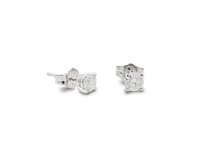 Alson Signature Collection 14K White Gold Stud Earrings, Featuring Two Round Diamonds =.50cts Total Weight, H Color, SI2 Clarity
