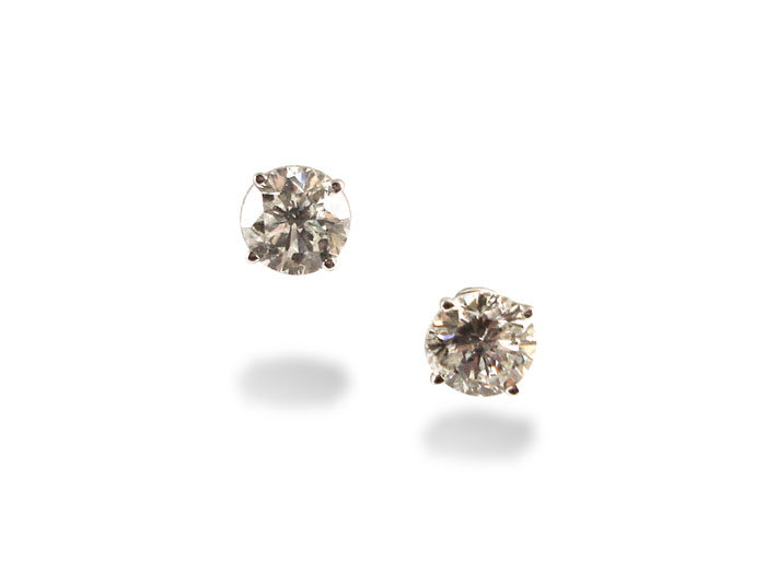 Alson Signature Collection 14K White Gold Diamond Stud Earrings, Featuring 2 Round Diamonds =2.34ctw, I Color, SI2 Clarity