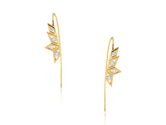 Ron Hami 14K Yellow Gold Birds of Paradise Plumage Diamond Ear Wires, Featuring 8 Round Light Champagne Diamonds =.39cts Total Weight