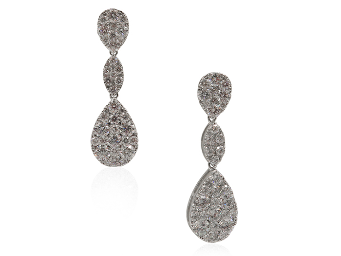 Alson Signature Collection 18K White Gold Diamond Drop Earrings, Featuring 90 Round Diamonds =4.40cts Total Weight