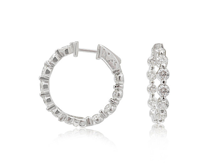 Alson Signature Collection 14K White Gold Inside/Outside Diamond Hoop Earrings, Featuring 22 Round Diamonds =3.30ctw, H Color, SI Clarity