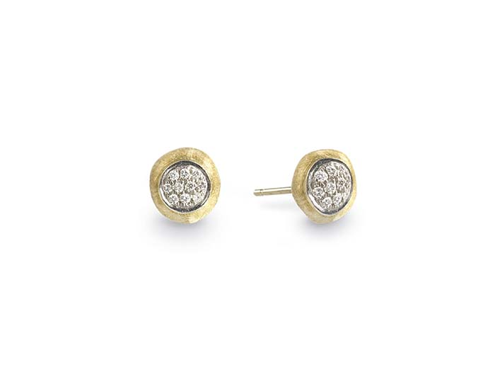 Marco Bicego 18K Yellow & White Gold Hand Engraved Jaipur Small Round .15ctw Diamond Earrings
