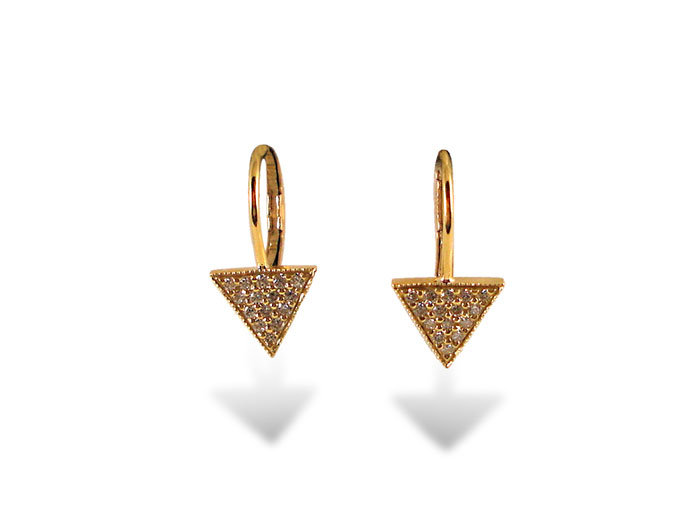 Penny Preville Small Pave Diamond Triangle French Wire Earrings, Fashioned in 18K Yellow Gold and Featuring Round Diamonds =.30cts Total Weight