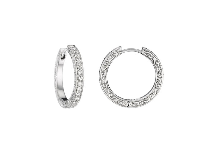 Penny Preville Small Engraved Diamond Hoop Earrings, Fashioned in 18K White Gold, Featuring Twenty-Six Round Diamonds =.33cts Total Weight
