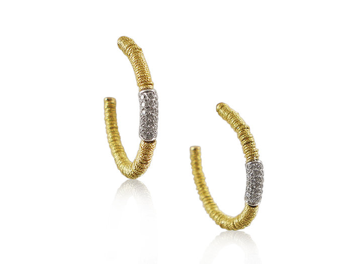 Roberto Demeglio Joy Hoops, Fashioned in 18K Yellow Gold, Featuring a Diamond Tube with Round Diamonds =.52cts Total Weight