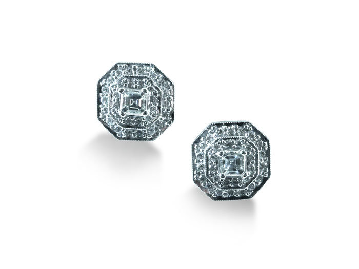 Penny Preville Earrings, Fashioned in 18K White Gold, Featuring Two Asscher Cut Diamonds and Sixty Round Diamonds =.81cts Total Weight