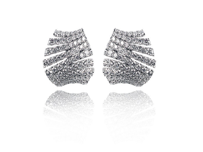 Alson Special Value 18K White Gold Diamond Earrings, Featuring 140 Round Diamonds =2.28cts Total Weight
