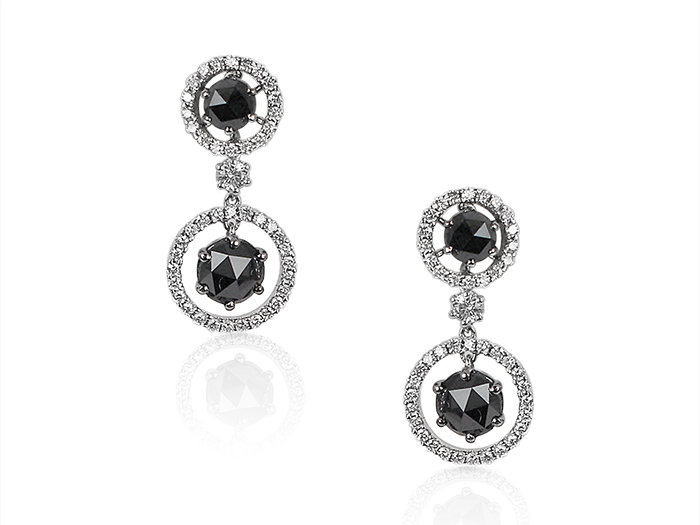 Alson Signature Collection, these 18K White Gold Diamond Earrings Feature Four Black Diamonds =2.87cts Total Weight and Eighty Eight White Diamonds =.82cts Total Weight
