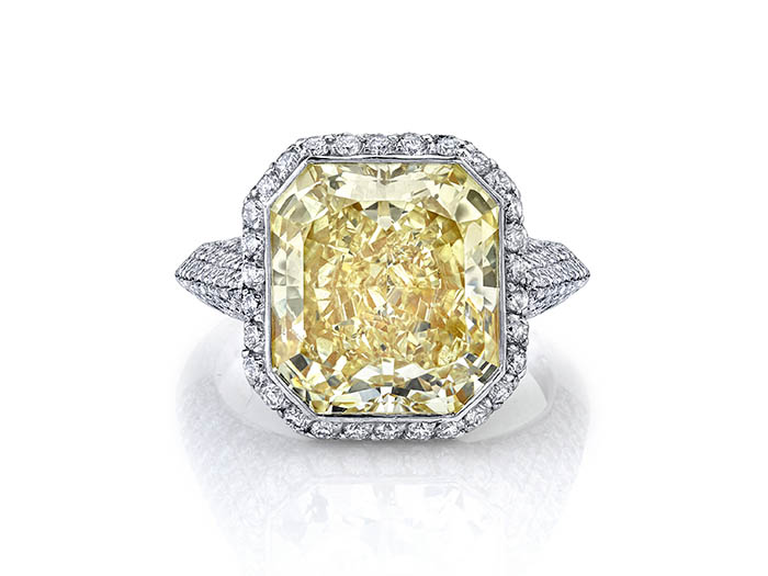 Alson Signature Collection Platinum & 18K Yellow Gold Engagement Ring, Featuring a 7.17ct Radiant Fancy Yellow Diamond, VVS1 Clarity, GIA Certified, Accented with 224 Round Diamonds =1.34ctw