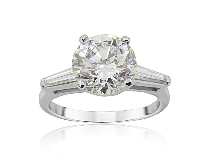 Alson Signature Collection Platinum Engagement Ring, Featuring a 2.05ct Round Diamond, G Color, SI1 Clarity, GIA Certified, Accented with 2 Tapered Baguette Diamonds =.40ctw