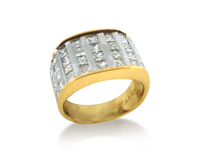 Alson Special Value 18K Yellow Gold Ring Features Thirty Six Channel Set  Princess Cut Diamonds = 2.00 Carats
