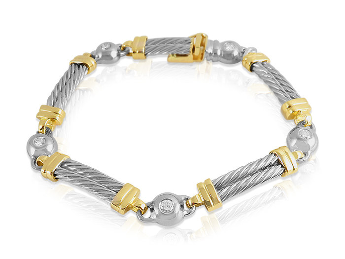 Alson Special Value 14K Yellow Gold Diamond Bracelet, Featuring 5 Round Diamonds =.50cts Total Weight
