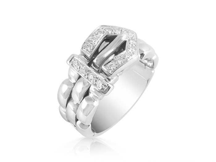 Alson Special Value 18K White Gold Diamond Buckle Band, Featuring 15 Round Diamonds =.15cts Total Weight