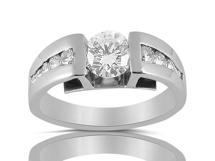 Alson Special Value 14K White Gold Diamond Engagement Ring, Featuring a Tension Set .70 Carat Round Diamond, SI1 Clarity, I Color, Accented with 10 Round Channel Set Diamonds =.30cts Total Weight