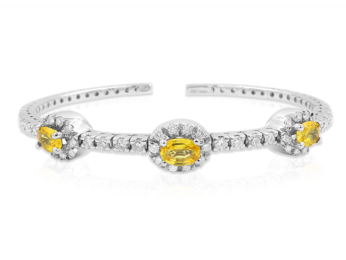 Alson Estate Collection 18K White Gold Flexible Cuff Bracelet, Featuring (3) 6x4MM Oval Yellow Sapphires, Accented with 44 Round Diamonds =1.00ct Total Weight