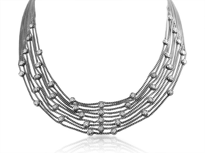 Alson Estate Collection 18K White Gold Nine Strand Necklace, Featuring Forty-Four Round Diamonds =2.50cts Total Weight