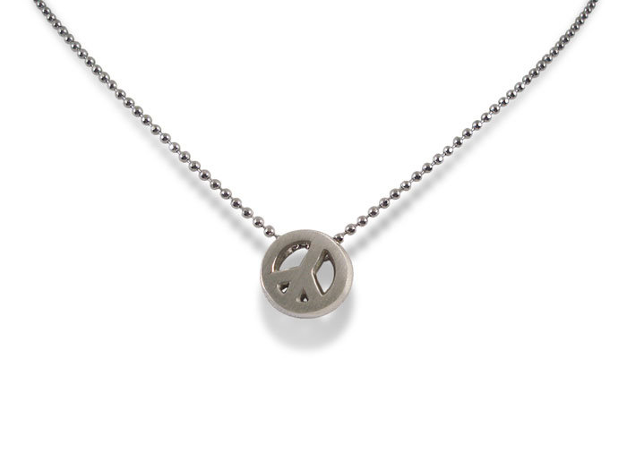 Alex Woo Little Activists Peace Sign Necklace, Fashioned in Sterling Silver, Measuring 16