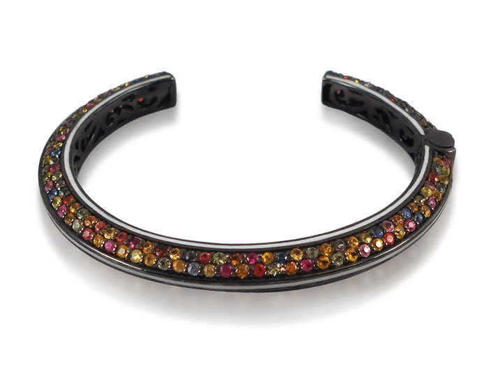 Alson Special Value M.C.L. Design Pave with Enamel Line Cuff Bracelet, Fashioned in Blackened Sterling Silver with White Enamel, Featuring Mixed Sapphires =10.24cts Total Weight