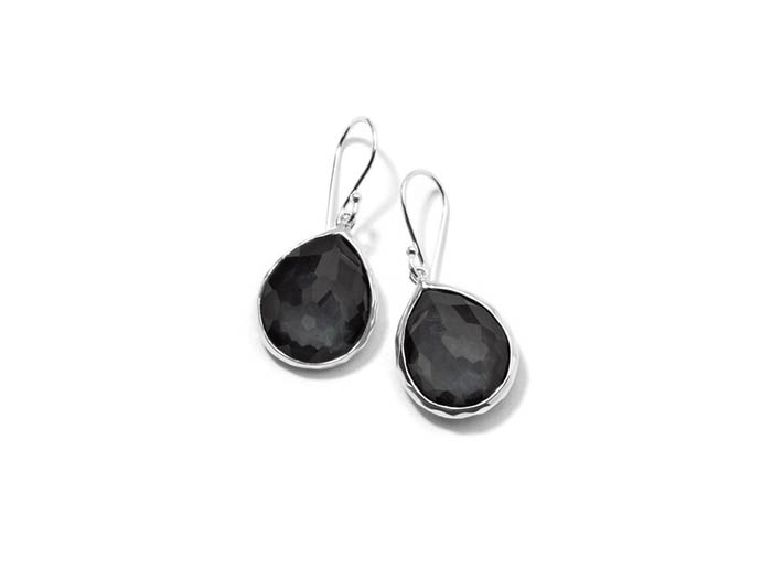 Ippolita Silver Rock Candy Mini Teardrop Earrings, Featuring Clear Quartz over Hematite Doublets