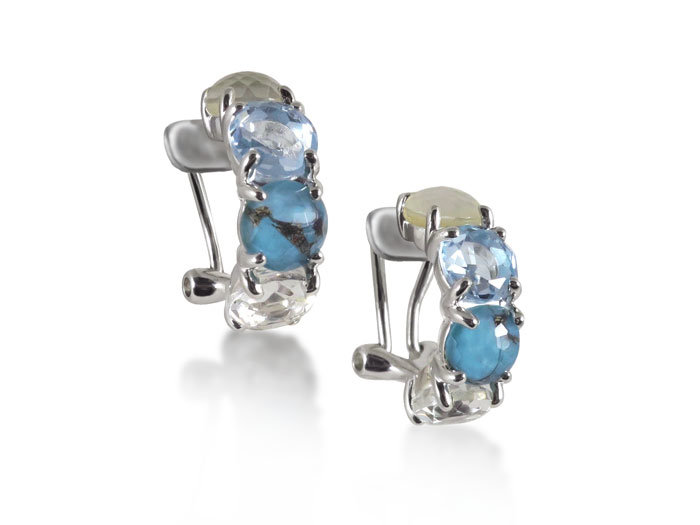 Ippolita Rock Candy Four-Stone Half Round Omega Earrings, Fashioned in Sterling Silver, Featuring the Harmony Color Palette