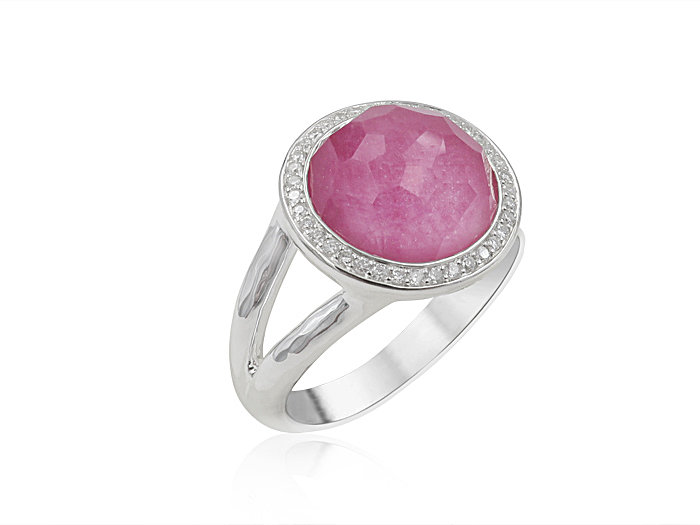 Ippolita Silver Lollipop Mini Ring, Featuring a Clear Quartz over African Ruby Doublet, Accented with Round Diamonds =.15ctw