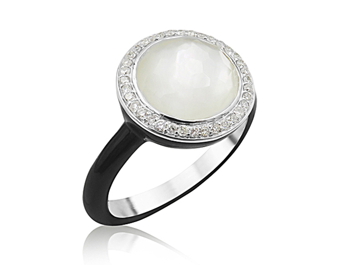 Ippolita Carnevale Silver & Black Ceramic Ring, Featuring a Clear Quartz Over Mother of Pearl Doublet, Accented with Round Diamonds =.16ctw