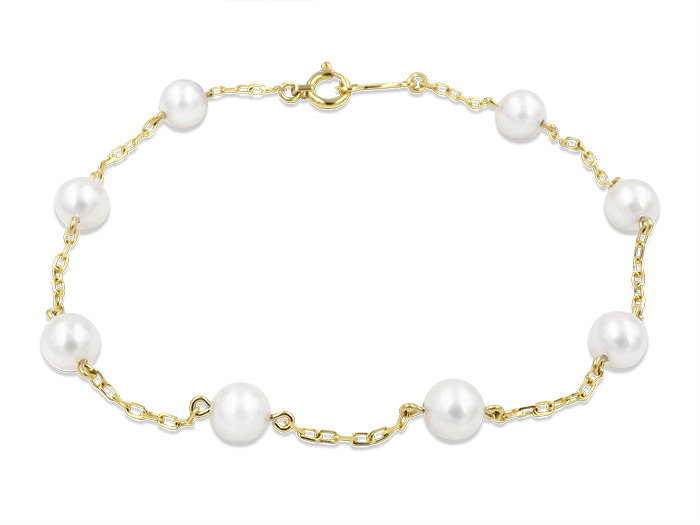 Mikimoto 18K Yellow Gold Pearl Station Bracelet, Featuring (8) 5-5.5MM Akoya Cultured Pearls
