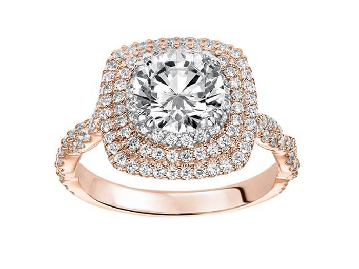 ArtCarved 14K Rose & White Gold Three-Row Cushion Halo with Twist Shank Engagement Ring, Featuring 132 Round Diamonds =.75ctw, Center Stone Sold Separately