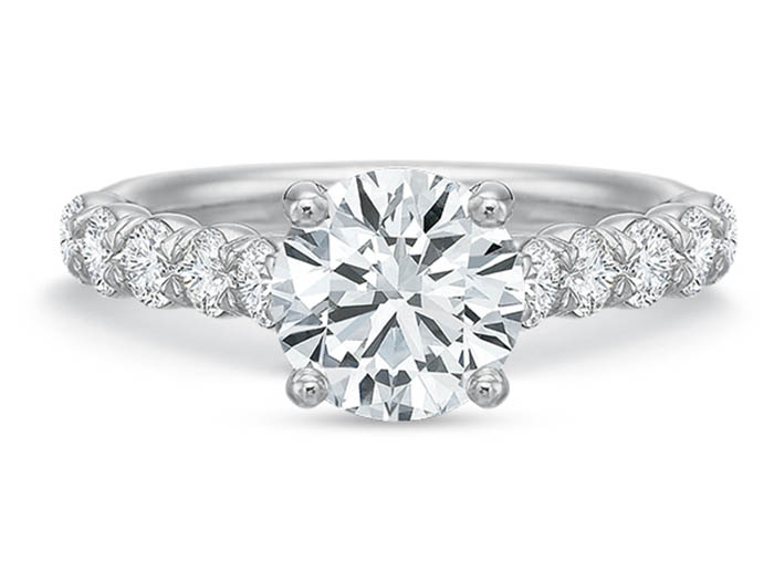 Precision Set 18K White Gold Diamond Engagement Ring, Featuring Ten Round Diamonds =.73cts Total Weight, Center Stone Sold Separately
