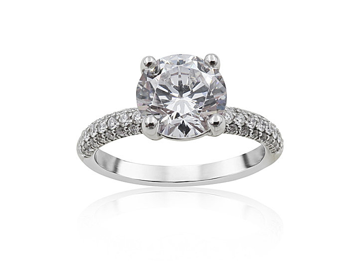 Precision Set 18K White Gold Three-Row Pave Engagement Ring, Featuring Fifty Round Diamonds =.48cts Total Weight, Center Stone Sold Separately