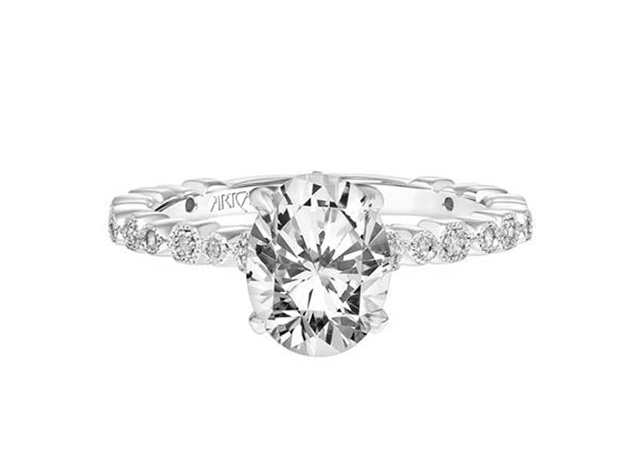 ArtCarved 14K White Gold Diamond Engagement Ring, Featuring 48 Round Diamonds =.22cts Total Weight, Center Stone Sold Separately