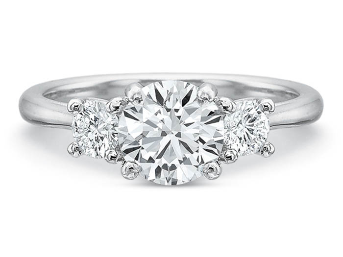 Precision Set 18K White Gold Three-Stone Engagement Ring, Featuring 2 Round Diamonds =.30cts Total Weight, Center Stone Sold Separately