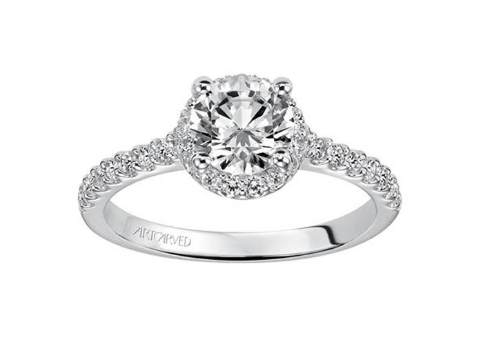 ArtCarved 14K White Gold Halo Engagement Ring, with 30 Round Diamonds =.33ctw, Center Stone Sold Separately
