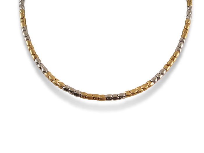 Alson Signature Collection Necklace, Fashioned in 14K Yellow and White Gold with a Satin and High Polished Finish, Measuring 18