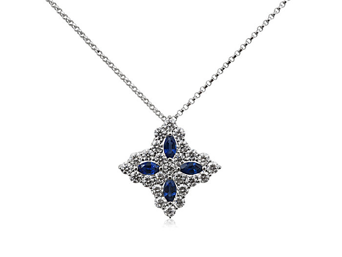 Roberto Coin 18K White Gold Princess Flower Necklace, with Blue Sapphires =.65cts Total Weight and Diamonds =1.23cts Total Weight