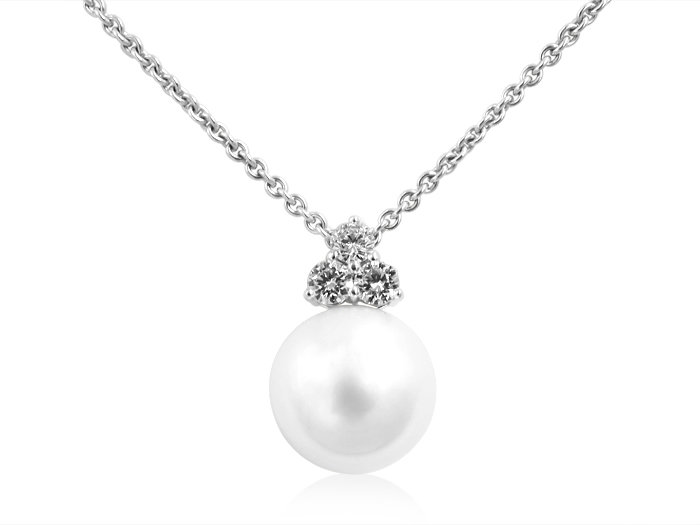 Mikimoto 18K White Gold Pearl & Diamond Necklace, Featuring a 14MM White South Sea Cultured Pearl, Accented with 3 Round Diamonds =.61cts Total Weight