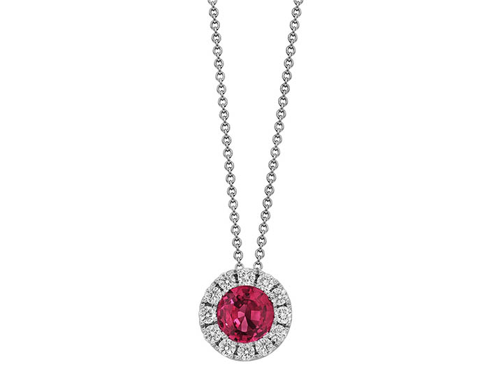 Spark 18K White Gold Ruby and Diamond Necklace, Featuring a .30 Carat Round Ruby, Accented with 12 Round Diamonds =.10cts Total Weight