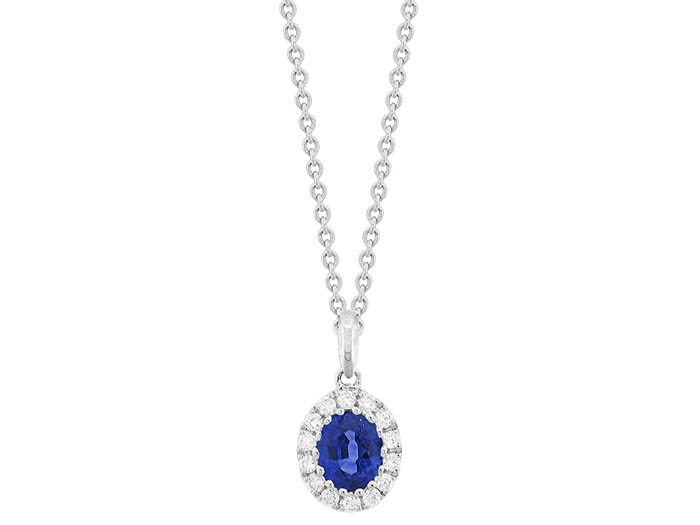 Spark 18K White Gold Halo Pendant Necklace, Featuring a .50ct Oval Blue Sapphire, Accented with 14 Round Diamonds =.12ctw