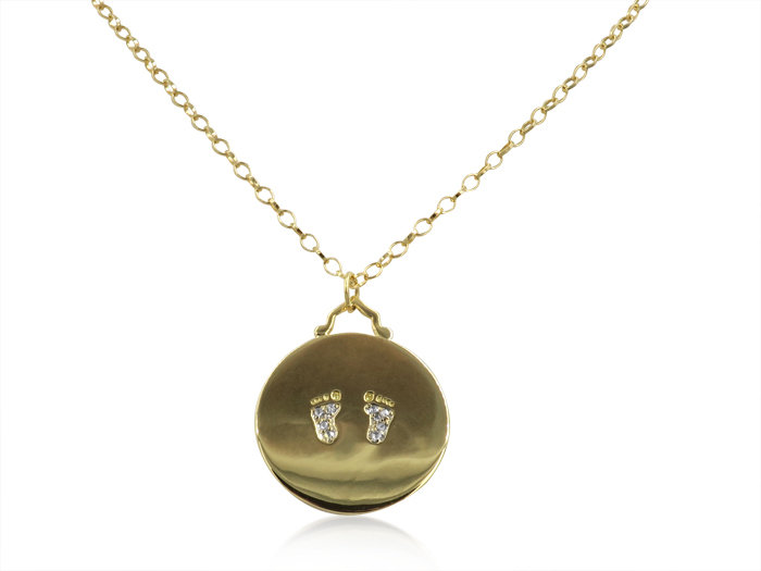 Monica Rich Kosann 18K Yellow Gold Diamond Baby Feet Necklace, Featuring Round Diamonds =.08cts Total Weight, on a 32